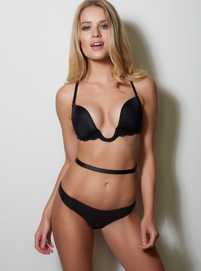 Sexy padded low plunge U bra