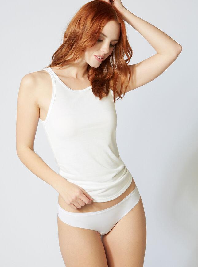 Lace back thong