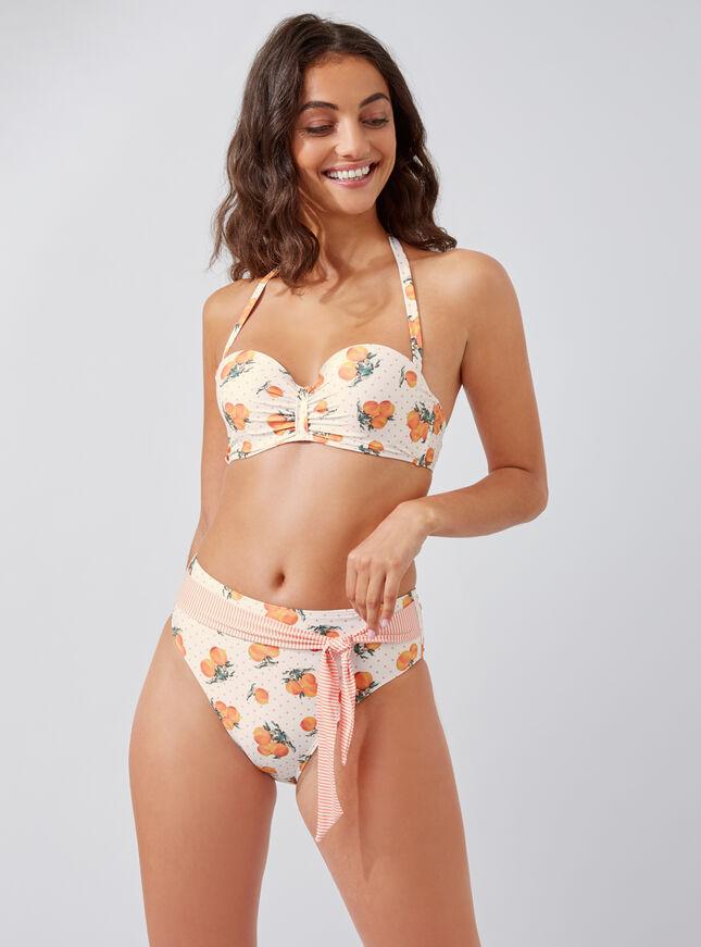 Peach print high-waisted bikini briefs