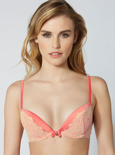 Clementina satin and lace plunge bra