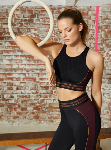 Activewear copper open back crop top
