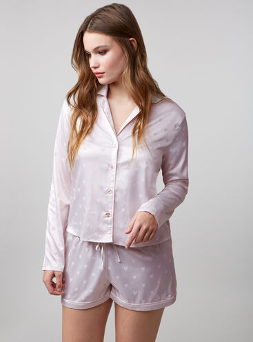 Heart jacquard satin pyjama set