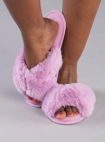Knot twist fur slider slippers