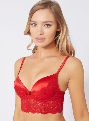 Sparkle lace longline bra