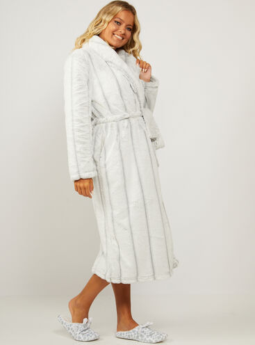 Hooded stripe ombre long dressing gown