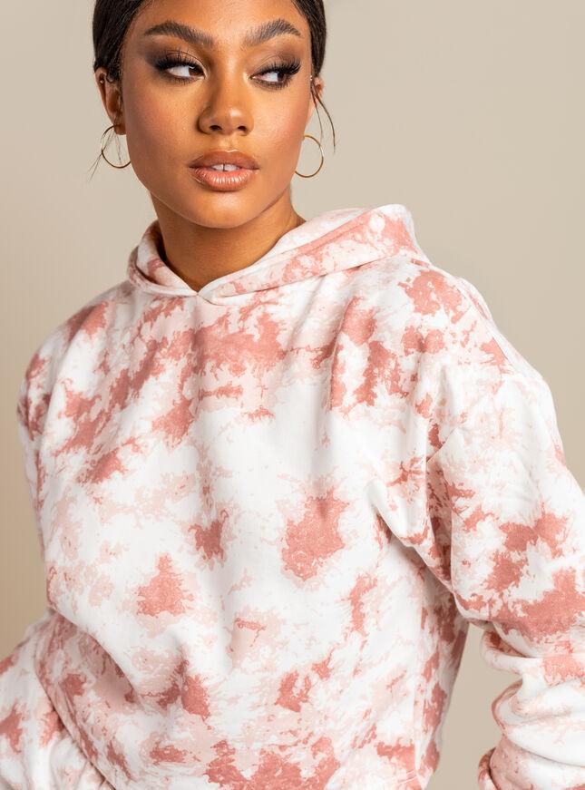 Tie dye cropped sweat hoodie