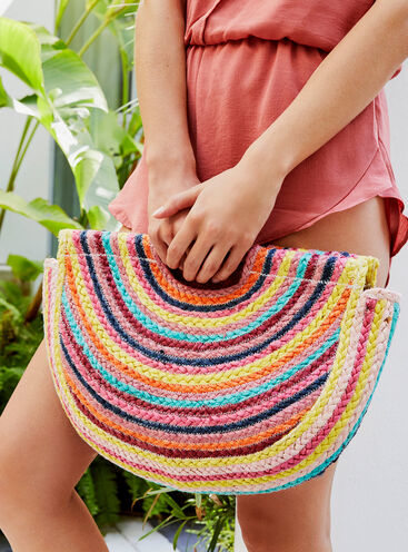 Rainbow straw beach bag