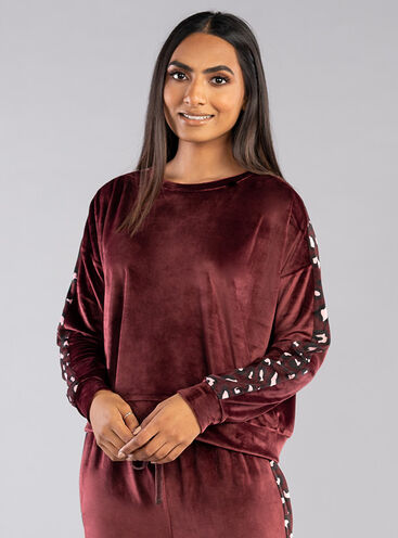 Leopard panel velour top
