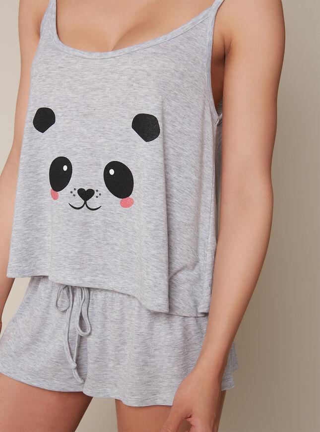 Panda cami and shorts pyjama set