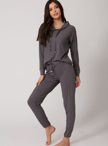 Ribbed hoody and jogger set