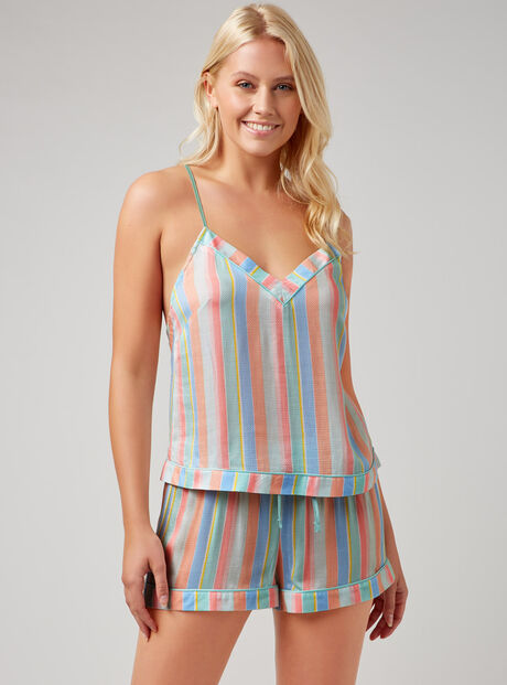 Pastel stripe cami set