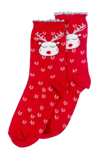 Reindeer socks in a bag