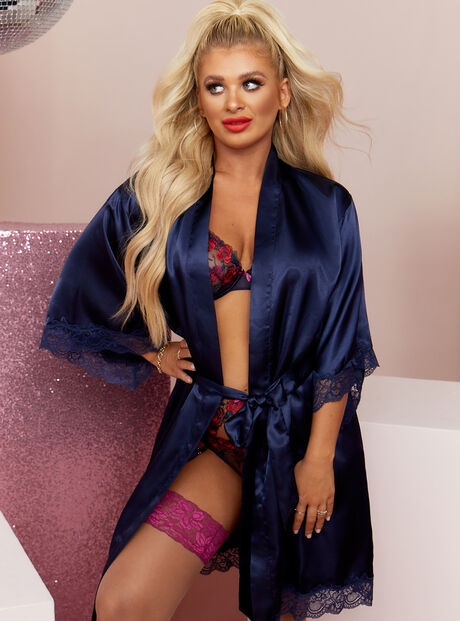 Marnie satin and lace robe
