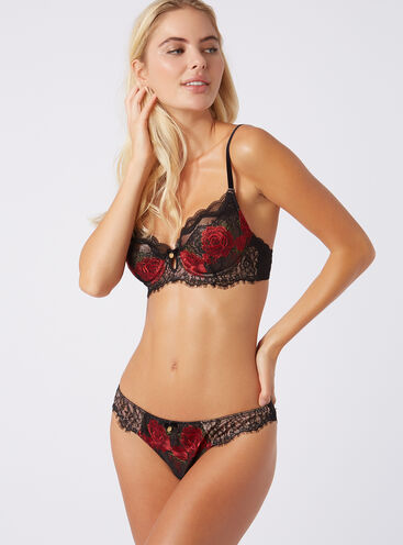 Dark rose embroidered briefs