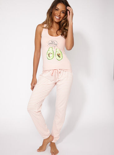 Avocado vest and joggers pyjama set