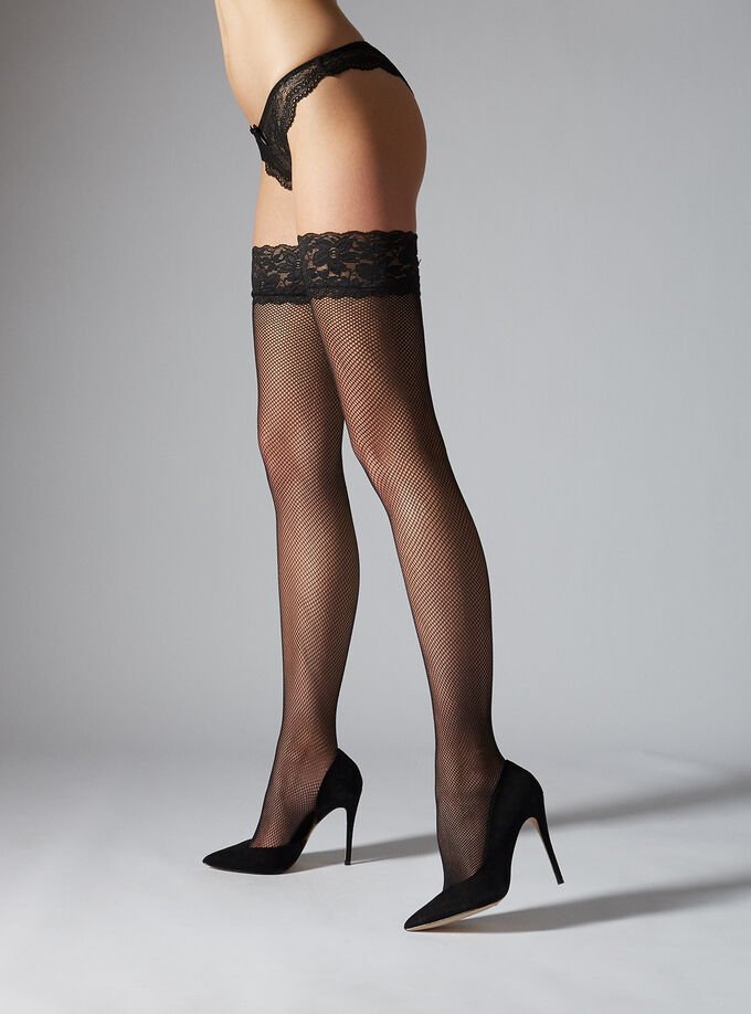 f9e044a3bf9a60 Lace Top Fishnet Hold Ups   Boux Avenue