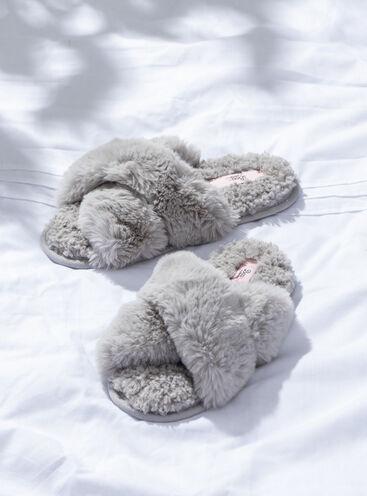 Borg cross band slider slippers