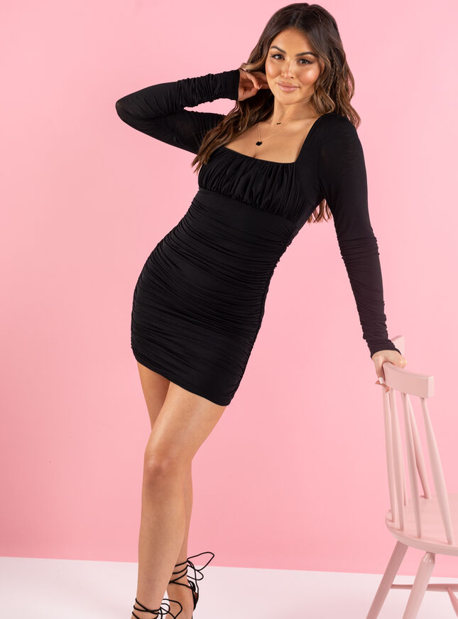 Emily long sleeved ruched mini dress
