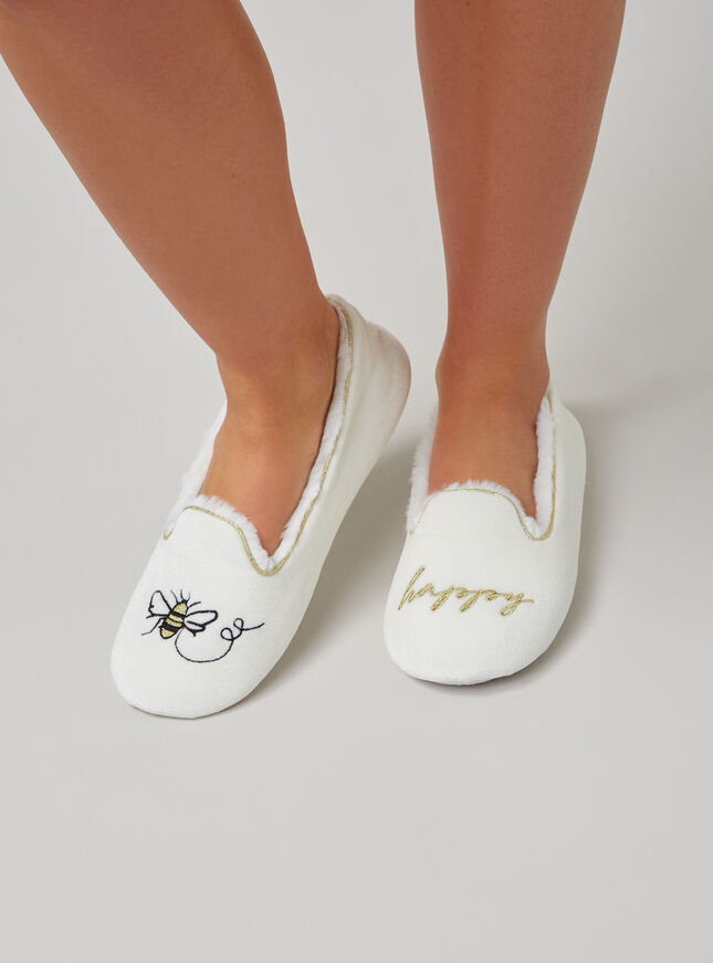 """Bee happy"" slippers"