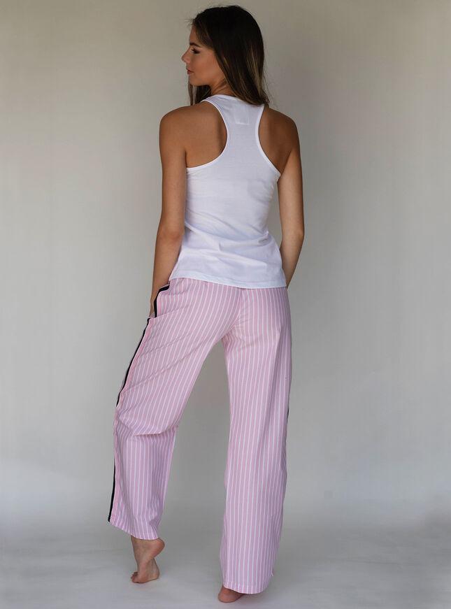 Stripe tape vest and pants pyjama set