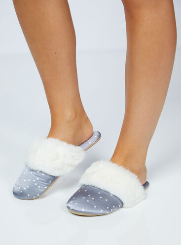 Grey spot satin slippers in a bag