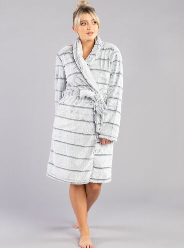 Stripe fur shawl dressing gown