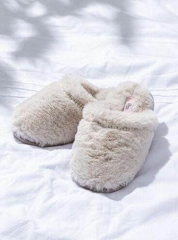 Fluffy embellished mule slippers