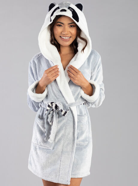 Raccoon hooded dressing gown