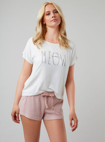"""Meow"" tee and shorts pyjama set"