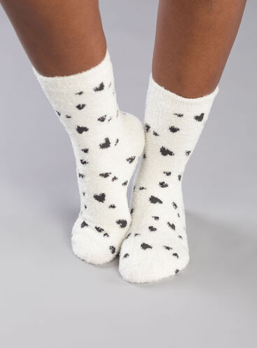 Cream heart cosy socks