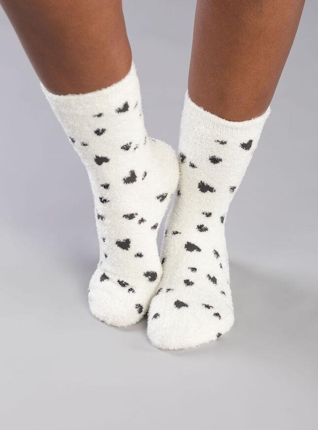 Cream heart cosy socks