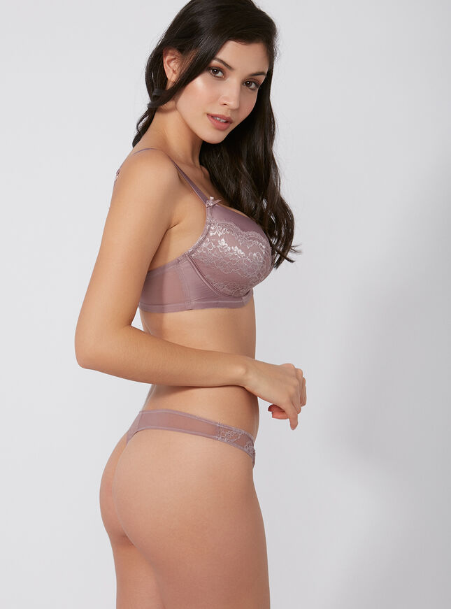 Samantha satin and lace thong