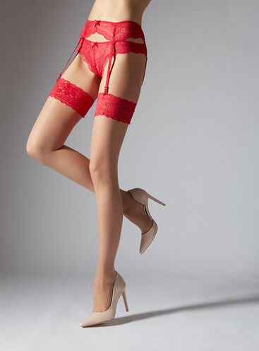 Red lace top stockings