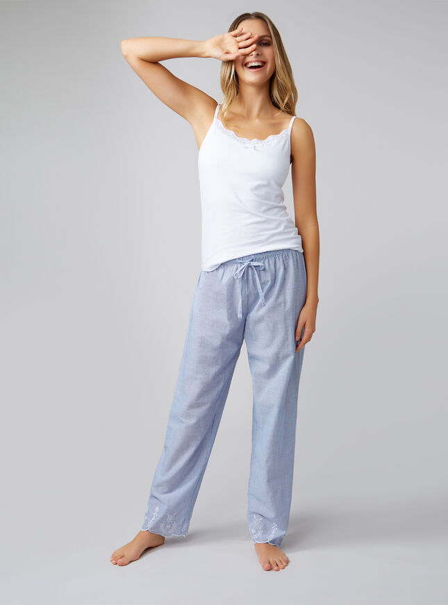Embroidered scallop cami and pants