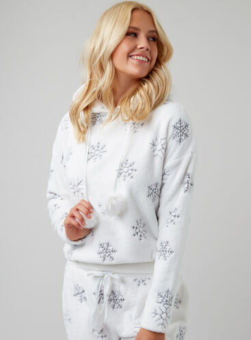 Embroidered snowflake hoody