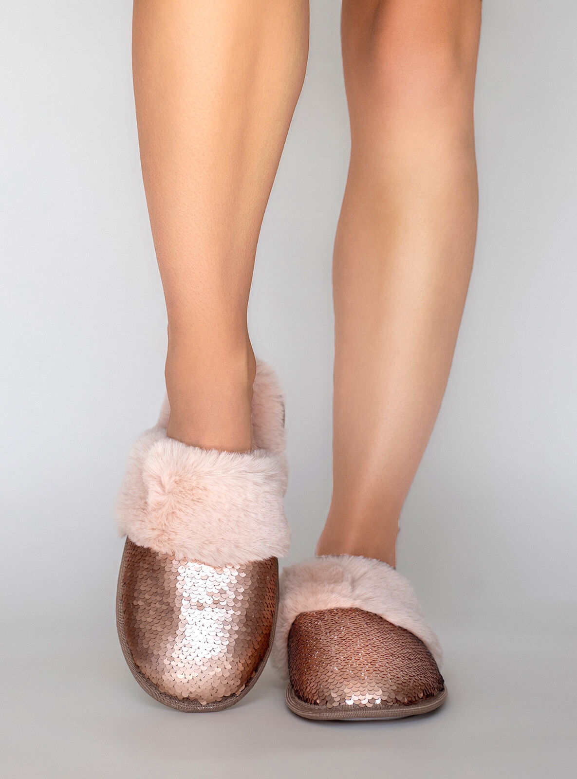 Sequin slippers   Rose Gold   Boux