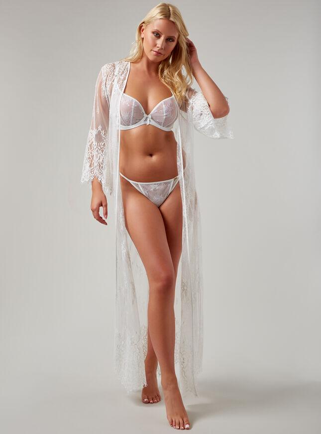 Fishnet lace long robe