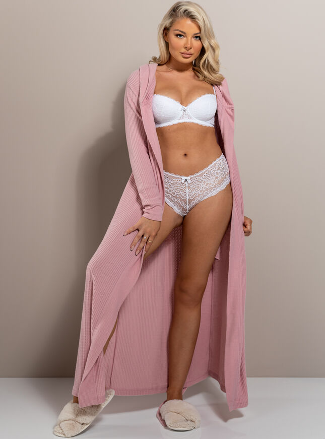 Lillie waffle long dressing gown