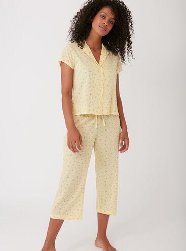 Floral dobby cropped pyjama set