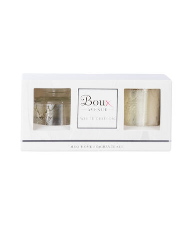 White chiffon mini home fragrance set