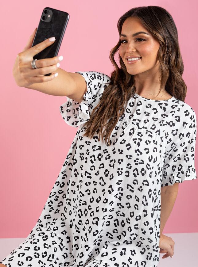 Kira leopard frill t-shirt dress