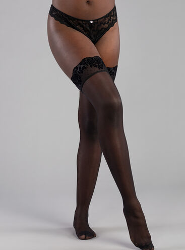 Floral spot flock top hold ups