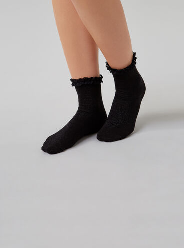 Lace frill top socks