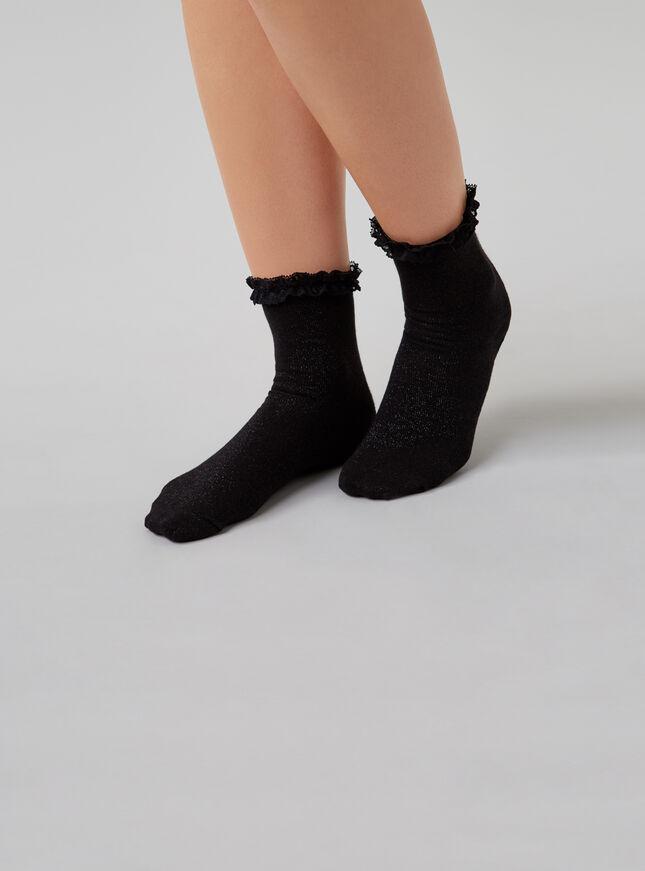Lace frill top socks