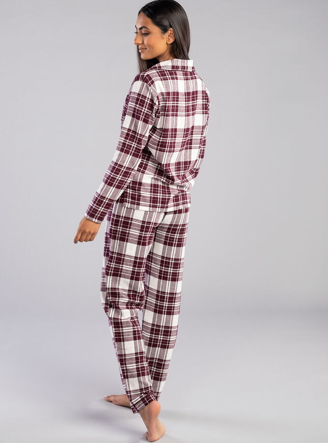 Burgundy check PJs in a bag
