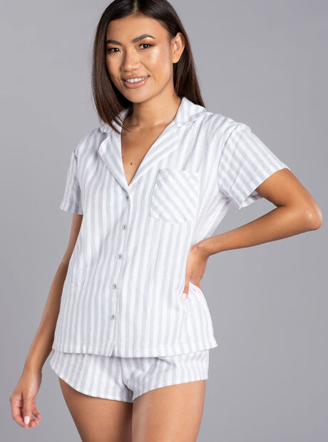 Grey stripe shorties in a bag
