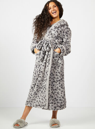 Panther waffle hooded long dressing gown