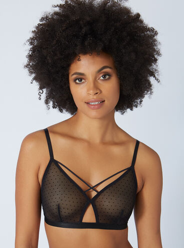 Flock mesh strappy triangle bra