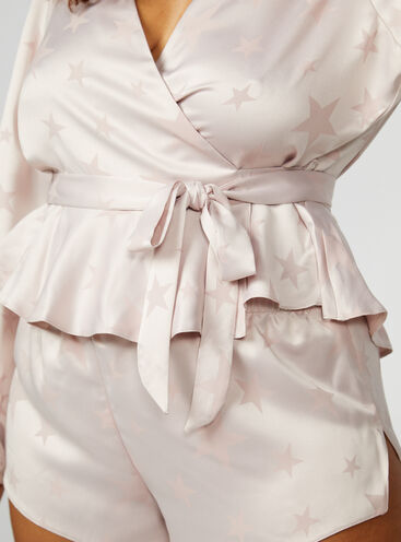 Star jacquard wrap top and shorts set