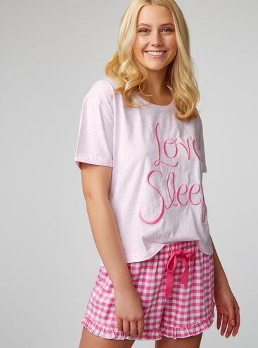 """""""Love sleep"""" gingham pyjama set"""